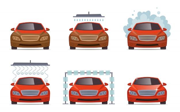 Lavado de autos. transporte servicio de lavado de agua del automóvil conjunto de recogida