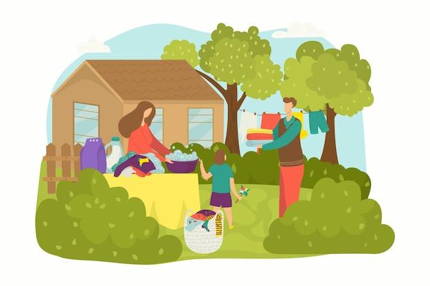 Lavado y lavado de ropa en casa
