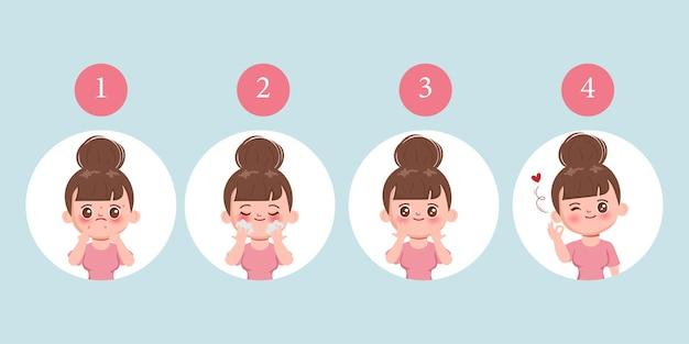 Lavado de rostro de mujer para la limpieza del acné con lavado de limpieza facial.