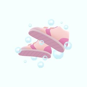 Lavado de zapatos 3d con ilustración de burbujas