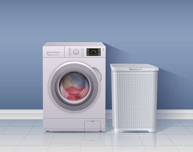 Lavadora fondo realista con ilustración de símbolos de equipos de lavandería