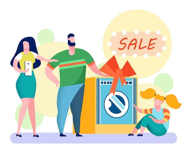 Lavadora gran venta plano vector illustration