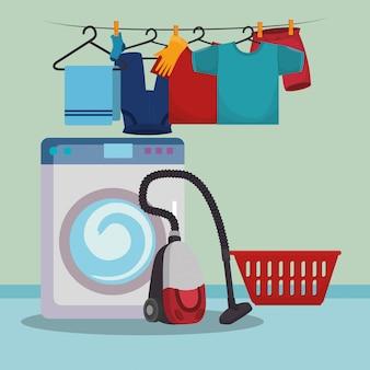 Lavadora con iconos de servicio de lavandería.