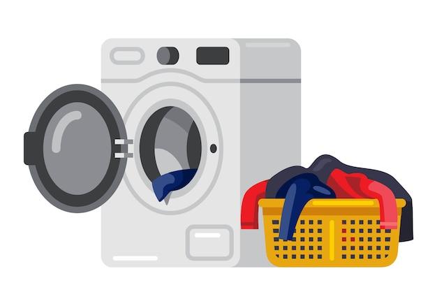 Lavadora y ropa sucia en el cesto de la ropa