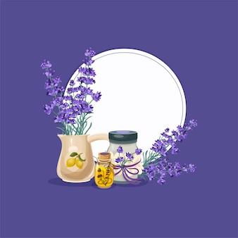 Lavanda floral estilo provenzal aislado en púrpura