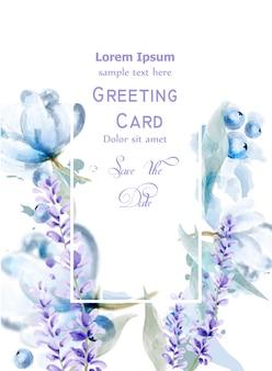 Lavanda flores acuarela tarjeta