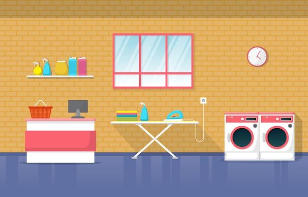 Lavandería cajero lavadora herramientas lavandería interior moderno