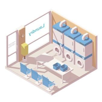 Lavandería comercial isométrica