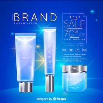 Lavandería cosmética venta realista publicidad.