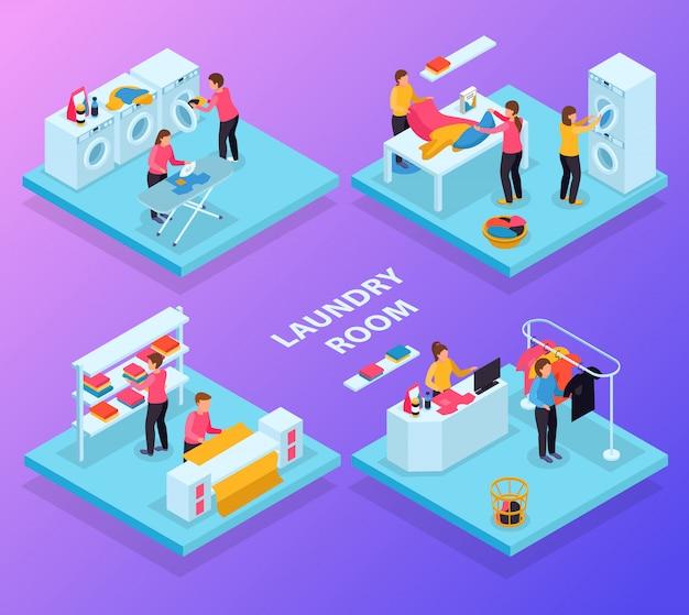Lavandería isométrica 4x1 con diferentes salas de servicio de lavandería, ropa de texto y personajes humanos.