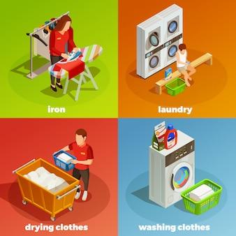 Lavandería isométrica composición de limpieza en seco