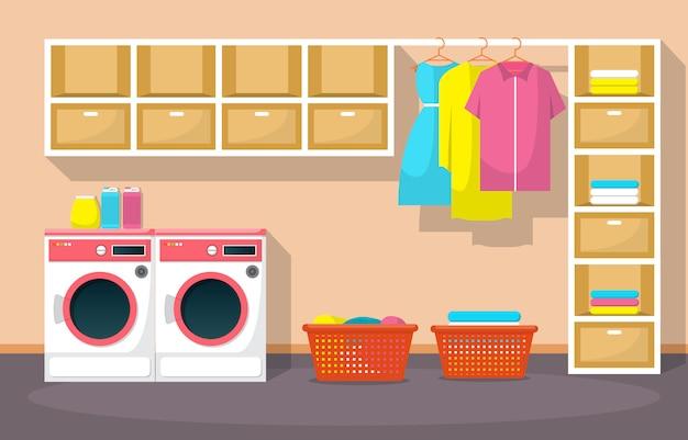 Lavandería ropa lavadora herramientas lavandería interior moderno