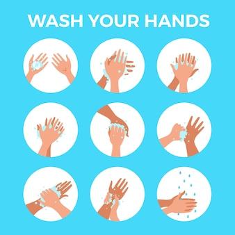 Lavarse las manos con agua y jabón correctamente de dibujos animados. procedimiento de limpieza de piel personal de higiene plana