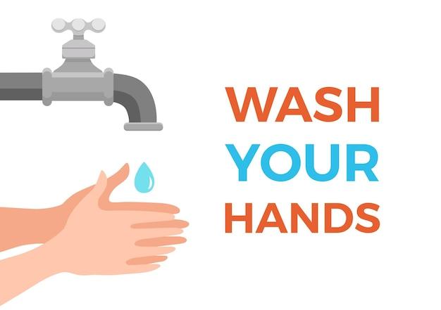 Lavarse las manos con agua y jabón correctamente ilustración vectorial de dibujos animados. concepto colorido del procedimiento de limpieza de la piel personal de higiene de atención médica plana. plantilla de diseño de pasos de protección de prevención de virus