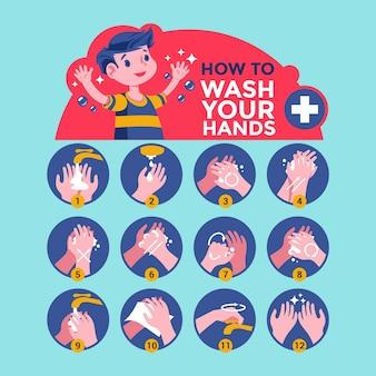 Lavarse las manos para el cuidado personal diario.