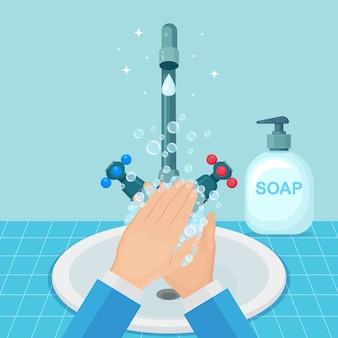 Lavarse las manos con espuma de jabón, burbujas de gel. grifo de agua, fuga del grifo. higiene personal, rutina diaria