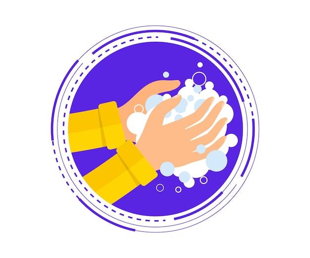Lavarse las manos con jabón ilustración vectorial. lávese las manos para el cuidado personal diario y prevenga los virus y las bacterias. higiene personal, desinfectante