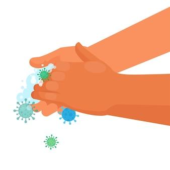 Lavarse las manos con jabón para prevenir enfermedades y virus.