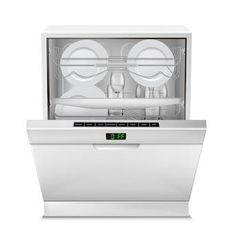 Lavavajillas con pantalla digital, con puerta abierta, lleno de platos limpios