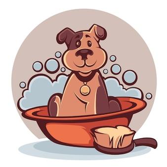 Lave a su mascota, divertido perro de dibujos animados tomando un baño