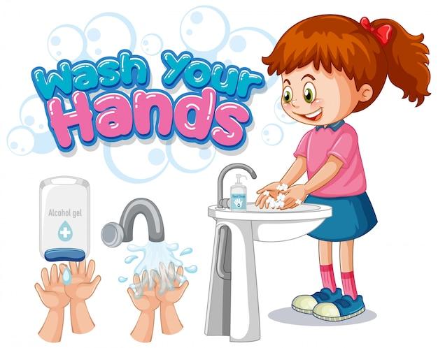 Lávese el diseño del cartel de las manos con la niña lavarse las manos