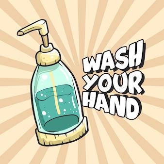 Lávese la mano ilustración premium
