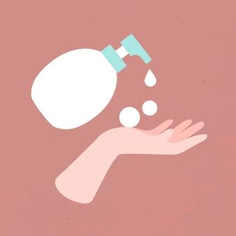Lávese las manos con agua y jabón vectork