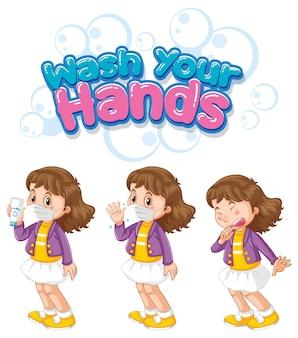 Lávese las manos diseño de fuente con una chica con máscara médica sobre fondo blanco.