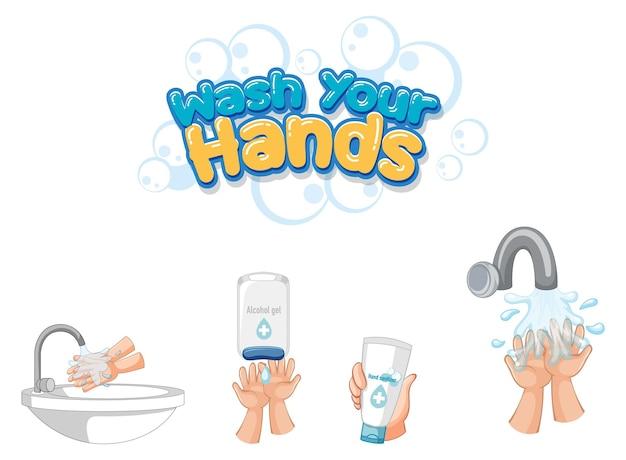 Lávese las manos diseño de fuente con productos desinfectantes para manos aislado sobre fondo blanco.