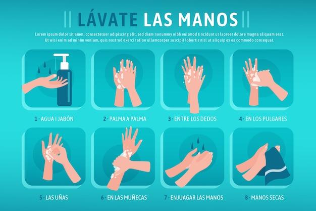 Lávese las manos en diseño plano