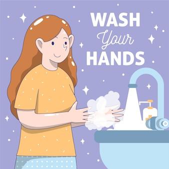 Lávese las manos diseño plano