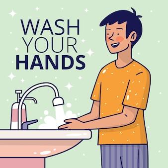 Lávese las manos con estilo plano