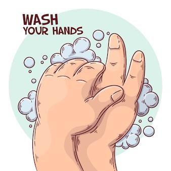 Lávese las manos tema ilustrado