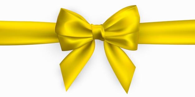 Lazo amarillo dorado realista. elemento para decoración de regalos, saludos, vacaciones.