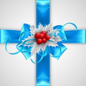 Lazo azul con decoraciones de navidad aislado