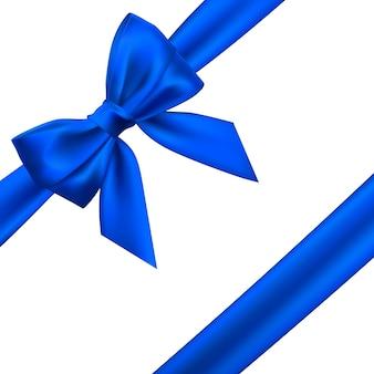 Lazo azul realista. elemento para decoración de regalos, saludos, vacaciones.