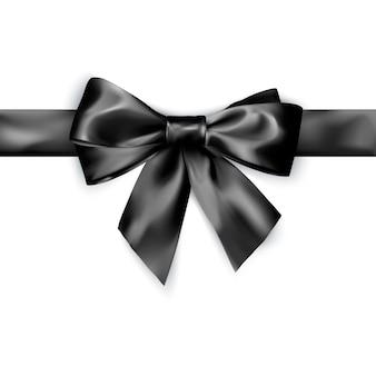 Lazo de raso negro elegante con cinta.