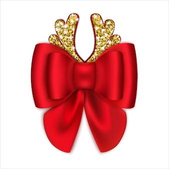 Lazo rojo con cuernos dorados. decoraciones de navidad