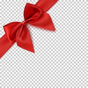 Lazo rojo realista y cinta sobre fondo transparente. ilustración.