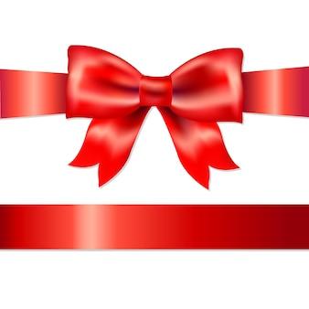 Lazo de satén de regalo rojo, aislado sobre fondo blanco, ilustración
