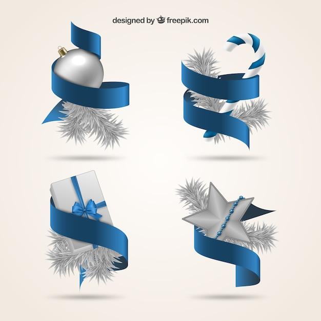 Lazos azules y decoración navideña