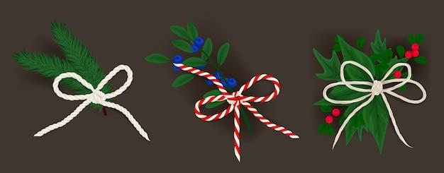 Lazos realistas y pequeñas ramas navideñas.