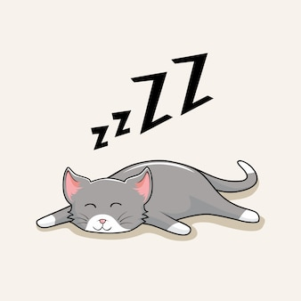 Lazy cat cartoon kitty sleep cute