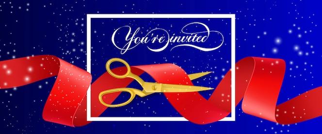 Le invitamos a un banner brillante con marco y tijeras de oro