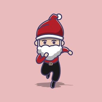 Lean santa corriendo por navidad