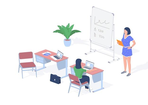 Lección en el aula digital moderna. adolescente con ordenador portátil se sienta en el escritorio. profesor junto a la pizarra con tableta dando conferencia. tecnologías en línea para un aprendizaje exitoso. isometría realista vector
