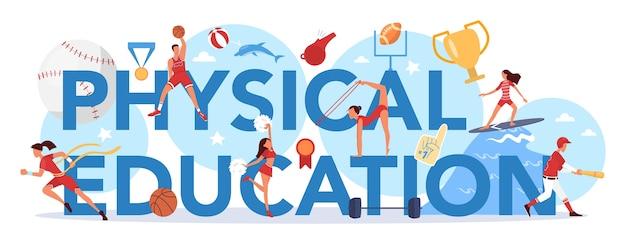 Lección de educación física clase escolar concepto de encabezado tipográfico estudiantes haciendo ejercicio en el gimnasio con equipamiento deportivo