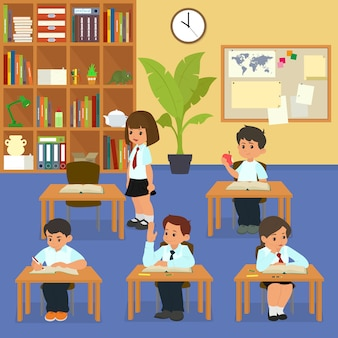Lección escolar niños en edad escolar en el aula en la lección.