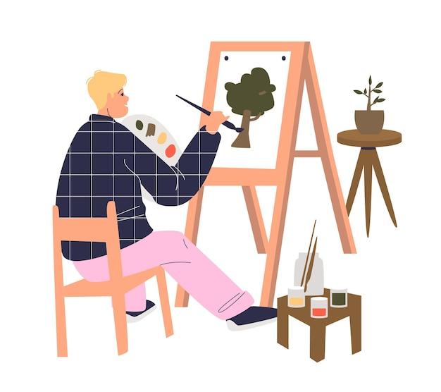 Lección de la escuela de arte con planta de dibujo de joven pintor