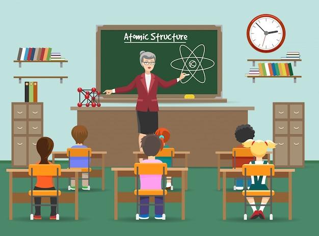 Lección de física con niños en el aula